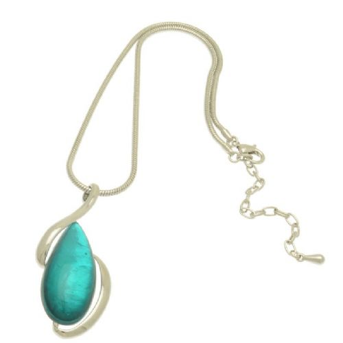 Miss Milly Teal Pebble Shell Pendant Necklace